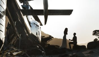 Couple Propsal Mountain Helicopter