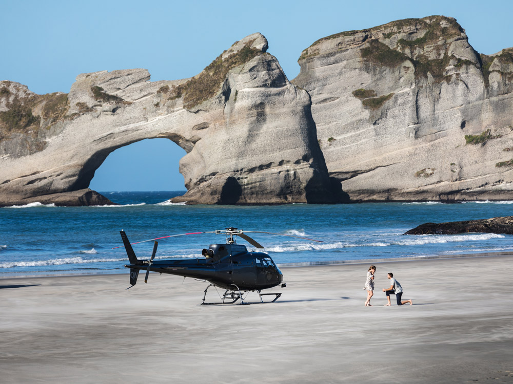 Beach Heli Propsal Couple