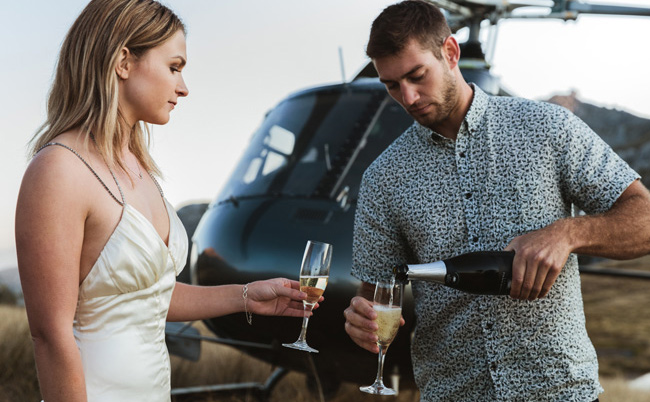 Champagne Couple Helicopter