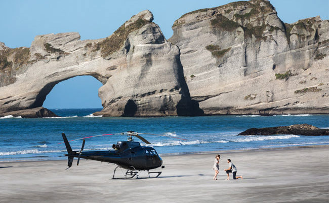 Heli Couple Propsal Wharariki Beach